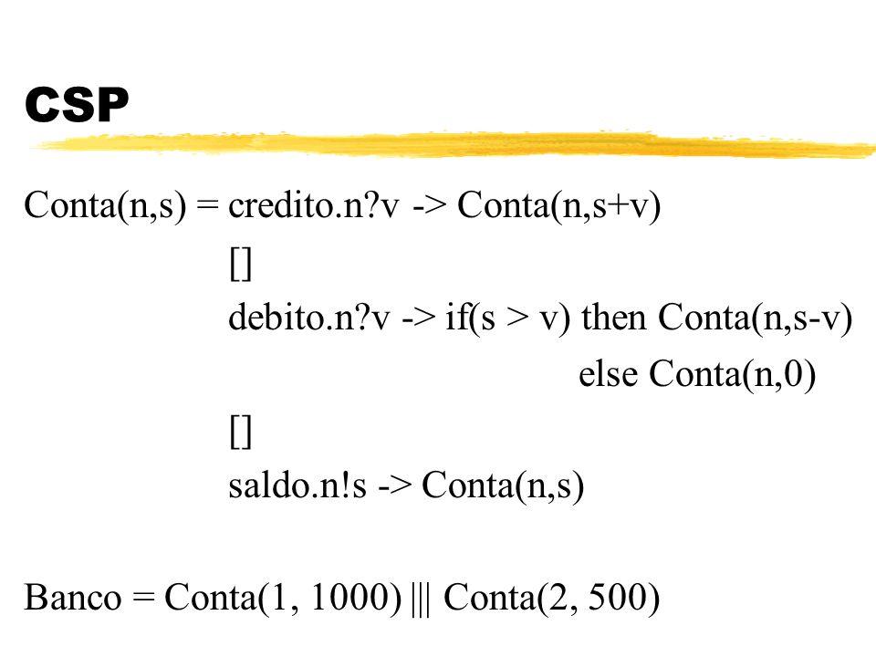 CSP Conta(n,s) = credito.n v -> Conta(n,s+v) []